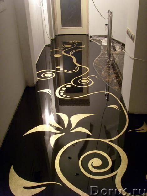 Рисунки и фото в 3D на полу в ванной