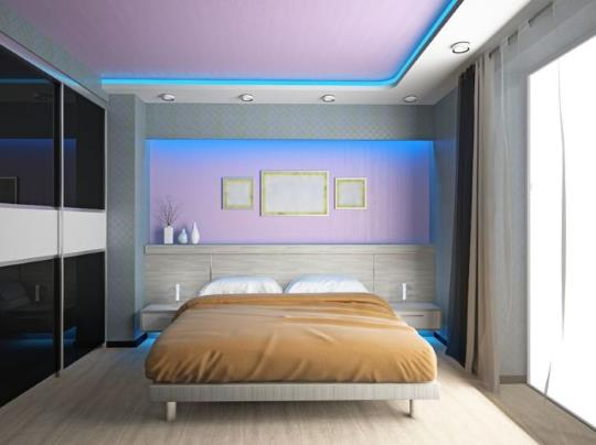 Удобное расположение светодиодного освещения в спальне