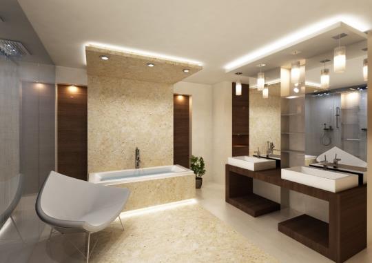 Удобное расположение светодиодного освещения в ванной